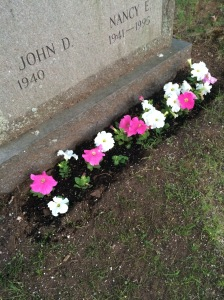 The grave with the same flowers